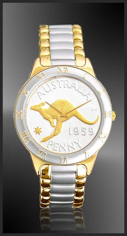 R323-NAP2-L2 Australian Penny Ladies Bracelet Coin Watch