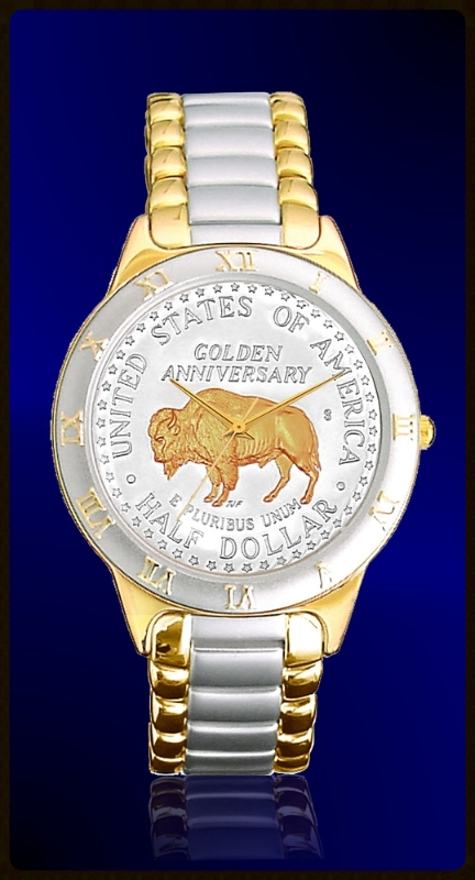 R323-NBU2-L2 American Bison Golden Anniversary Commemorative Half Dollar Ladies Bracelet Coin Watch