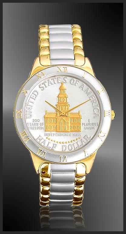R323-NIH2-L2 Independence Hall Half Dollar Ladies Bracelet Coin Watch