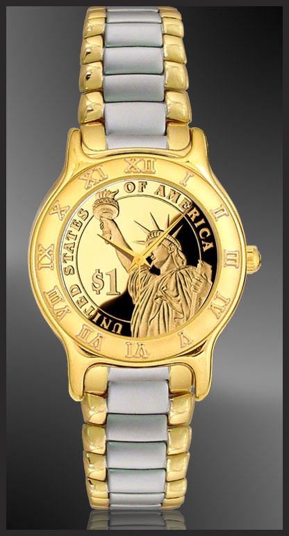 R333-PSLP-L2 Statue of Liberty Dollar Ladies Bracelet Coin Watch
