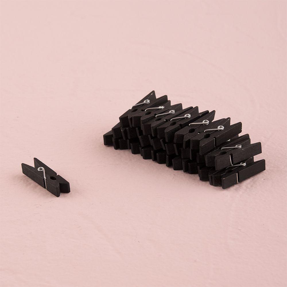 Miniature Black Wooden Clips (24) Black