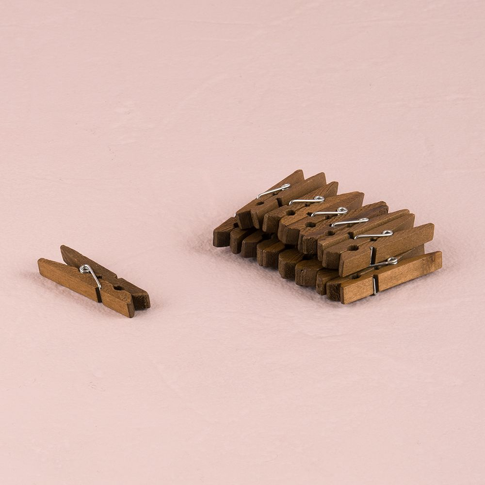 Natural Wooden Clips Chocolate Brown