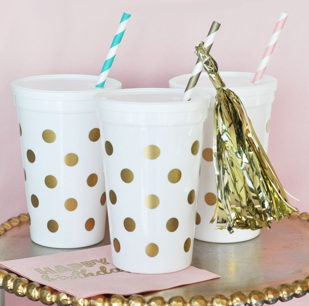 EB3114-White & Gold Polka Dot Party Cups With Lids Set Of 25