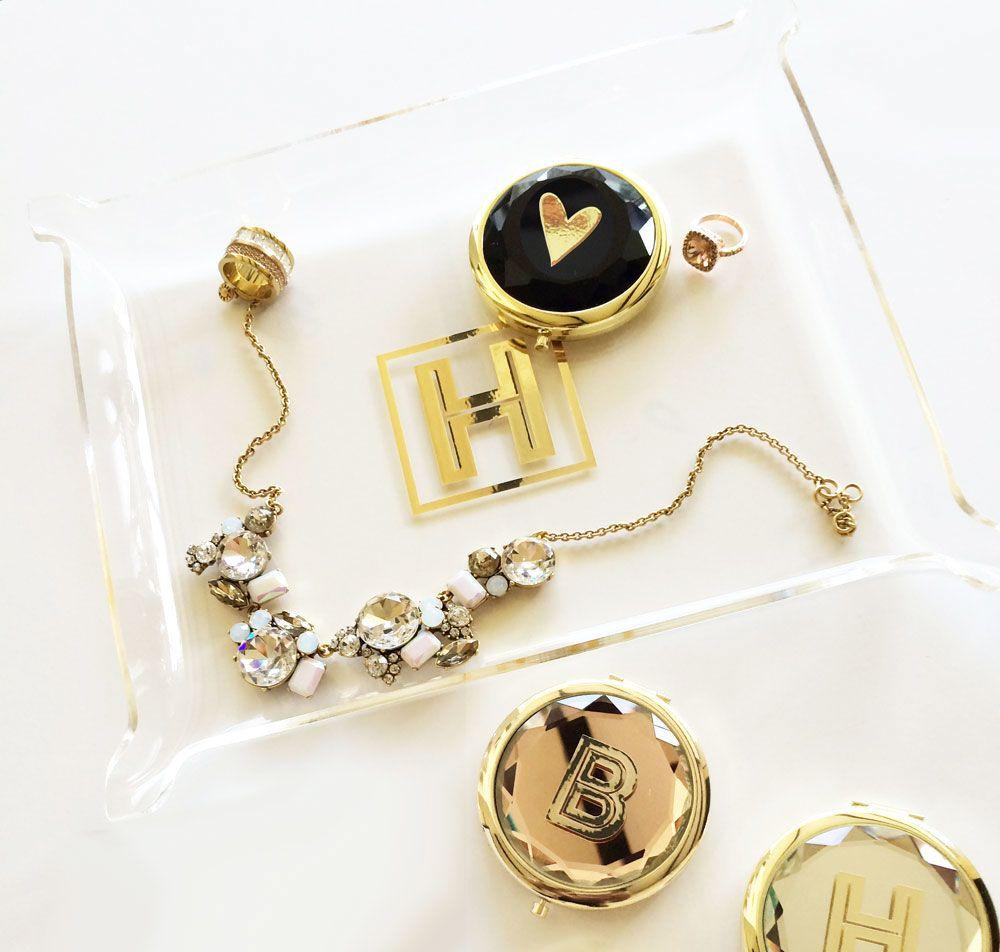 EB3139-Gold Monogram Jewelry Tray
