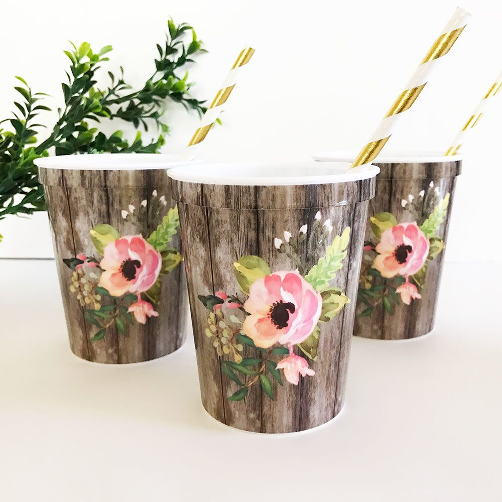 EB3213-Floral Party Cups Set Of 25