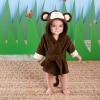 Born To Be Wild Monkey Hooded Spa Robe-personalized. Features and facts:Jungle-joyful, chocolate-brown monkey hooded spa robe has brown-and-cream 3-D ears, with embroidered black eyes and smile, an embroidered orange nose, light green-and cream leaf-pattern cuffs, a chocolate-brown terry tie at the waist and a curly monkey tail on the backMachine-washable terryclothSize 0-9 monthsCan be personalized with embroidered monogram for an additional charge--