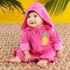 Tropical Pineapple Hooded Beach Zip Up-personalized with your little ones name or initials for a custom gift shes sure to love. Features and facts:  Super soft fuchsia terry zip up hooded towel features light pink cuffs and a yellow pineapple embroidered applique on the left chest Machine-washable cotton/polyester blend, exclusive of decoration Measures 26.8 w x 24.4 h Size 0-9 months Can be personalized with babys name or monogram on the right chest for an additional charge--