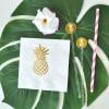 EB3099PN-Metallic Gold Pineapple Napkins Set Of 25