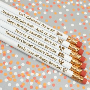 8915100--Adult Birthday Engraved Pencils White Set Of 12