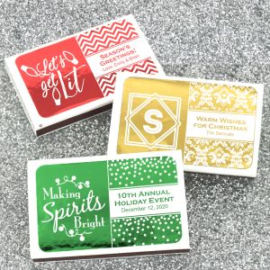 9227503--Holiday Metallic Foil Personalized Matches Set Of 50 White Box