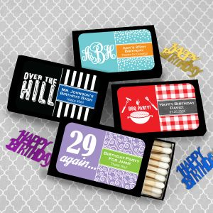 9235100--Adult Birthday Matches Set Of 50 Black Box