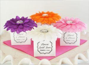 EB2391-Flower Favor Boxes Set Of 12 Pink, White, Purple, Blue, Orange, Yellow, Green