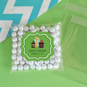 EB2394YZ-Personalized Birthday Clear Candy Bags Set Of 24