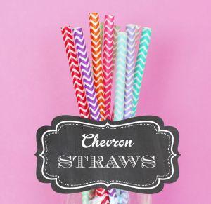 EB3028-Chevron Paper Straws Set Of 25 DIY Pink, Hot Pink, Lilac, Purple, Yellow, Orange, Red, Blue, Mint, Green, Black, Gold, Silver, Grey, Aqua Blue, Navy Blue