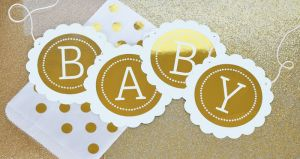 EB3034FB-Personalized Metallic Foil Scallop Banner Baby