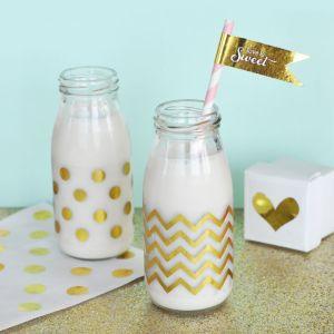 EB3035-Chevron & Dots Gold Foil Milk Bottle Labels Set Of 12