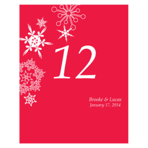 Winter Finery Table Number Numbers 1-12 Red