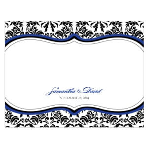 Love Bird Damask Note Card Royal Blue And Black