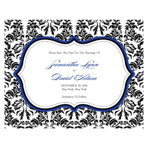 Love Bird Damask Save The Date Card Royal Blue And Black