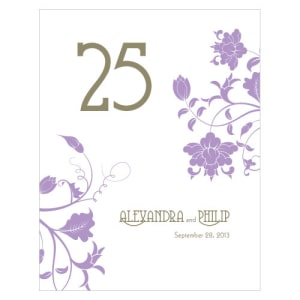 Floral Orchestra Table Number Numbers 1-12 Lavender