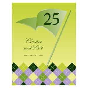 Golf Table Number Numbers 1-12 Classical Green Gradient