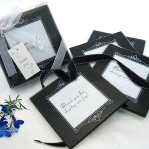 Memories Forever Glass Photo Coasters In Black Set Of 4