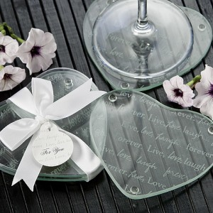 Live Love Laugh…Forever Heart Glass Coasters Set Of 2