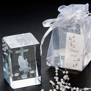 Blessed Prayer Laser Etched Crystal Favor Set Of 4