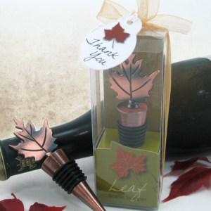 Bronze Elegance Fall Leaf Bottle Stopper In Designer Gift Box