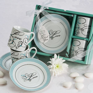 Expressions Of Love Espresso Cup Favor Set In White