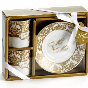 Mr. & Mrs. Espresso Cup Set In Gold Set Of 2