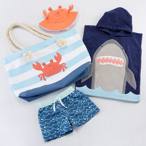 BA11074NA-Shark 4 Piece Beach Gift Set With Canvas Tote For Mom---
