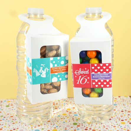 Kids Birthday Bottle Hanger Favor Boxes