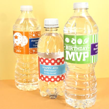 Kids Birthday Water Bottle Labels Set Of 5