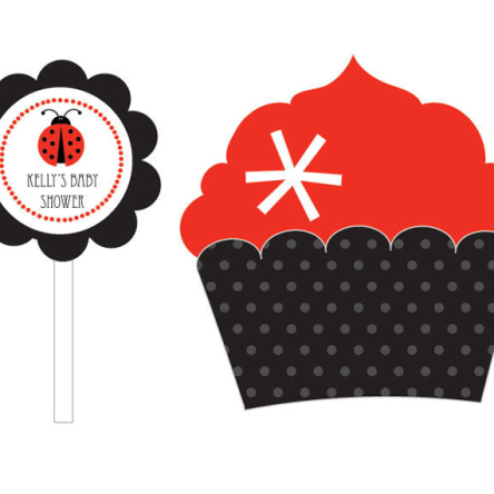 Ladybug Cupcake Wrappers & Cupcake Toppers Set Of 24