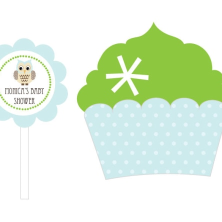 Blue Owl Cupcake Wrappers & Cupcake Toppers Set Of 24