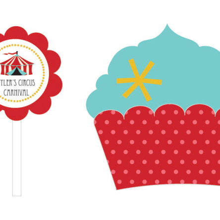 Circus Carnival Party Cupcake Wrappers & Cupcake Toppers Set Of 24