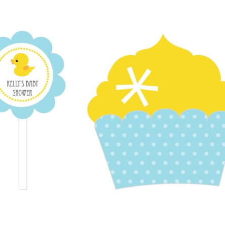 Rubber Ducky Cupcake Wrappers & Cupcake Toppers Set Of 24