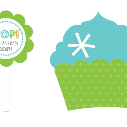 Going To Pop Blue Cupcake Wrappers & Cupcake Toppers Set Of 24