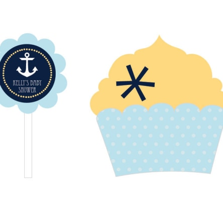 Nautical Baby Shower Cupcake Wrappers & Cupcake Toppers Set Of 24