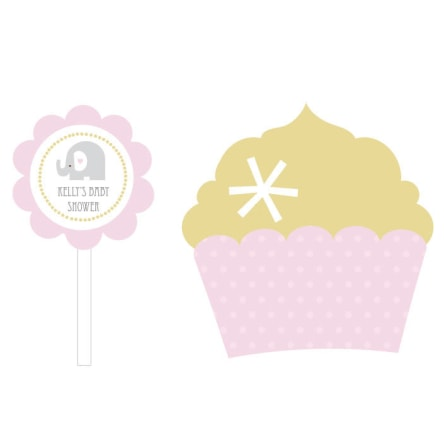 Pink Elephant Cupcake Wrappers & Cupcake Toppers Set Of 24
