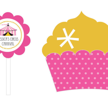 Pink Circus Party Cupcake Wrappers & Cupcake Toppers Set Of 24
