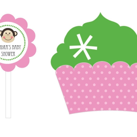 Pink Monkey Party Cupcake Wrappers & Cupcake Toppers Set Of 24