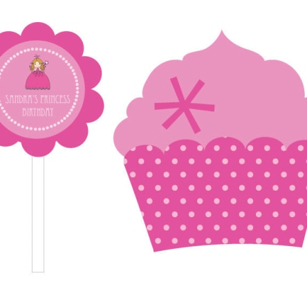 Princess Party Cupcake Wrappers & Cupcake Toppers Set Of 24