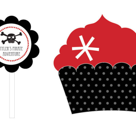 Pirate Party Cupcake Wrappers & Cupcake Toppers Set Of 24