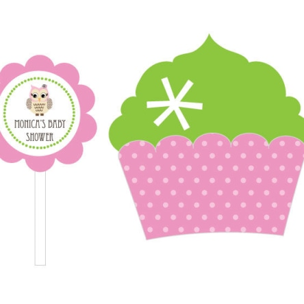 Pink Owl Cupcake Wrappers & Cupcake Toppers Set Of 24