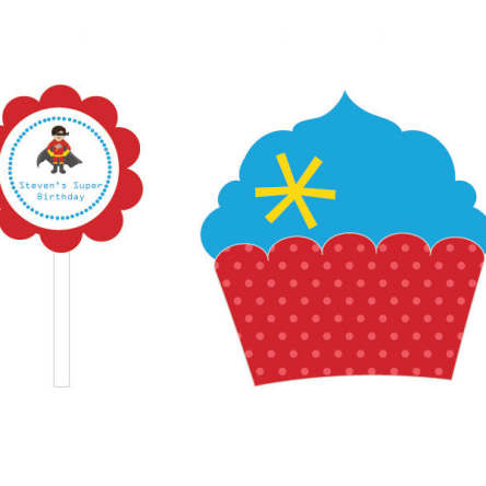 Super Hero Boy Birthday Cupcake Wrappers & Cupcake Toppers Set Of 24