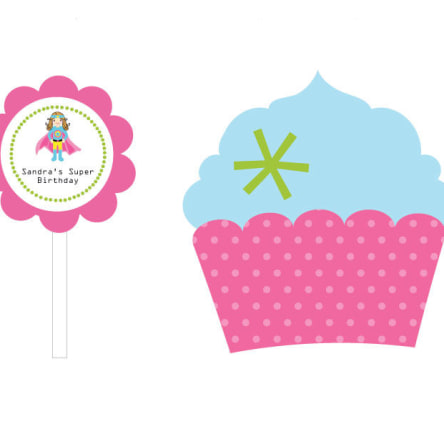 Super Hero Girl Birthday Cupcake Wrappers & Cupcake Toppers Set Of 24