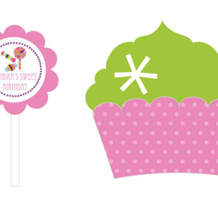 Sweet Shoppe Party Cupcake Wrappers & Cupcake Toppers Set Of 24