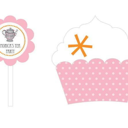 Tea Party Cupcake Wrappers & Cupcake Toppers Set Of 24
